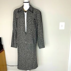 Escada Black and White Tweed 2pc Suit Size 44/14